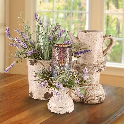 Lavender Garden - Shabby Chic Candle & Earthenware Table Centerpiece