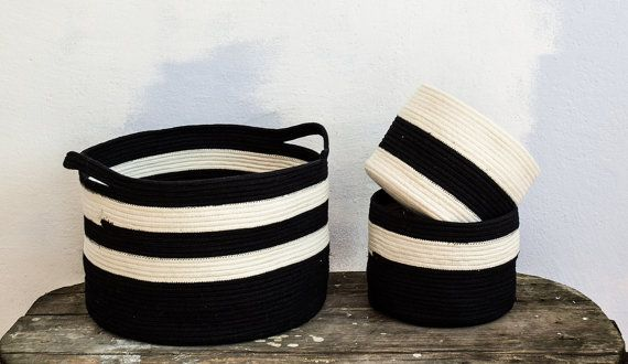 Large cotton  rope basket Storage basket Black and by Nuagehome