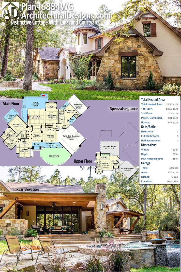 Home Design: Plan 16884WG: Distinctive Cottage With Lanai And Courtyard