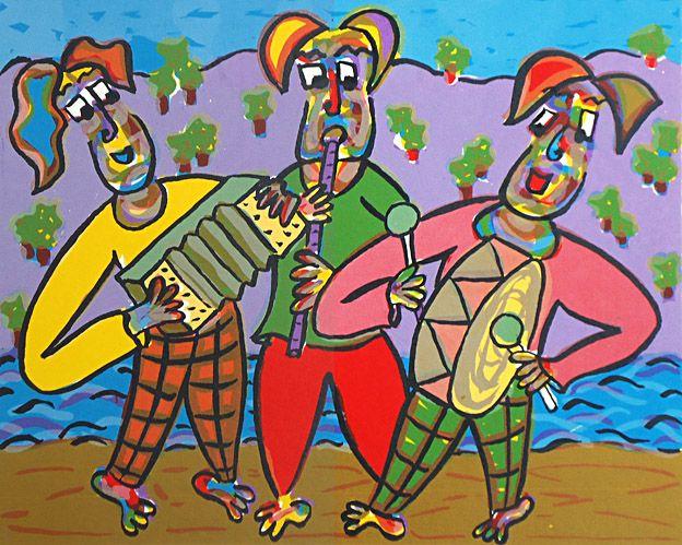 Zeefdruk Beach boys van Twan de Vos, 3 muzikanten spelen op het strand prachtige muziek, accordeon, fluit en grote trom