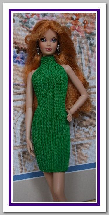 Barbie basics Green Crochet Dress - made by crocheting up and down, increase at front add neck band.