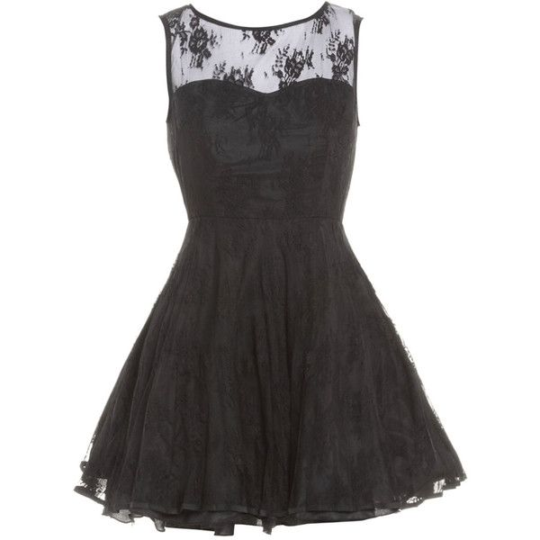 AX Paris Lace Kick Out Dress (€51) ❤ liked on Polyvore featuring dresses, vestidos, lace dress, party dresses, lace back dress, skater dress and cocktail party dress