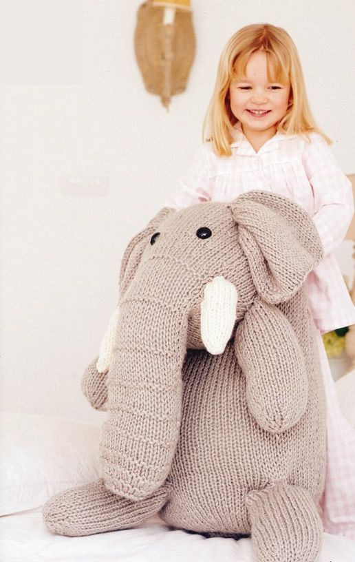 """Knitting pattern for large plush elephant toy from Stylecraft. Super huggable! Finished Height: 54.5"""""""