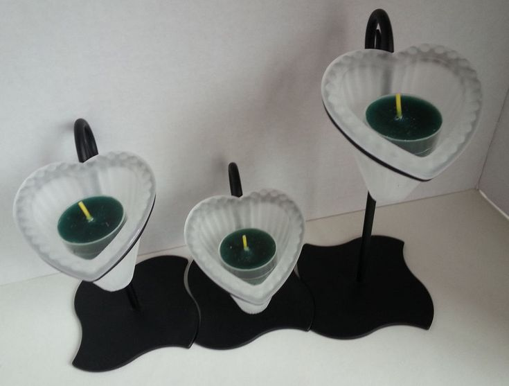 Hearts Aglow Trio Black Contemporary Candle Holder Partylite  P7396 Valentine #Partylite #CandleHolders