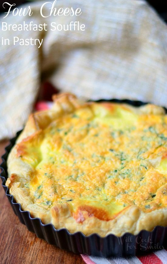Four Cheese Souffle baked in flaky puff pastry with some fresh herbs for more flavor! from willcookforsmiles.com
