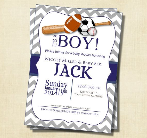 68 best sports themed baby shower images on pinterest | boy baby, Baby shower invitations