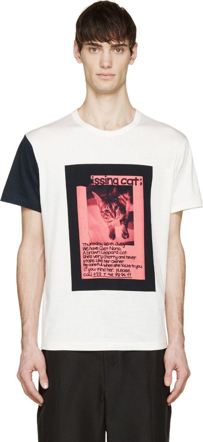 Yohji Yamamoto White Missing Cat Poster T-Shirt
