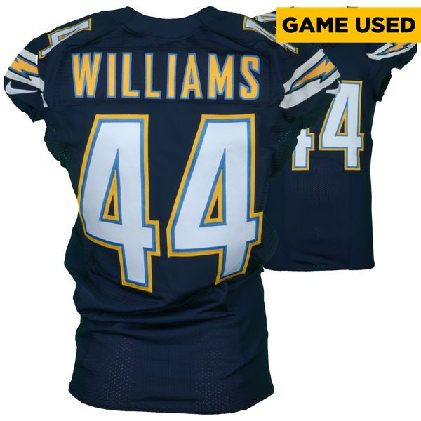 nfl jersey sale andre williams san diego chargers fanatics authentic game used blue jersey vs.