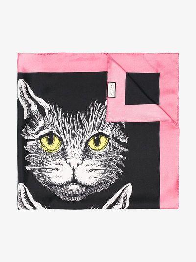 6a2a9cd90fc black Mystic Cat print silk scarf