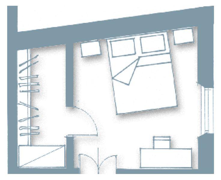 La realizzazione di un tavolato in cartongesso ha permesso di delimitare lo spazio da adibire a #cabina, risolvendo anche il problema della pianta non regolare (un armadio nella stessa posizione avrebbe richiesto un tamponamento di chiusura terminale oltre che superiore)