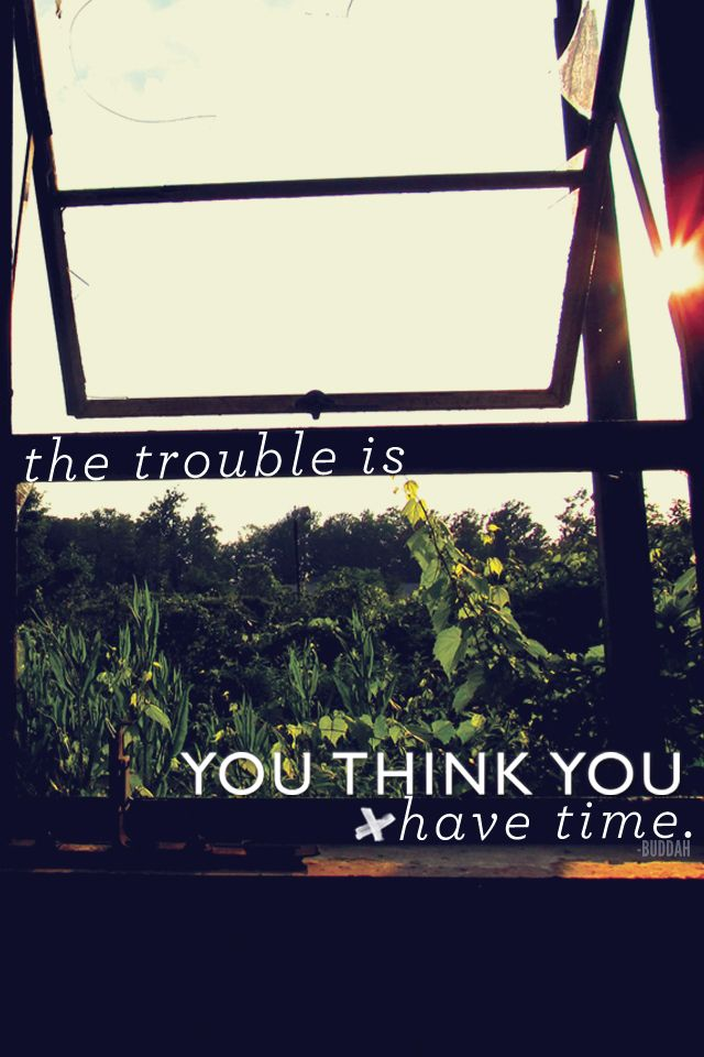 U201cThe Trouble Is You Think You Have Time.u201d U2013 Buddah Free IPhone Wallpaper