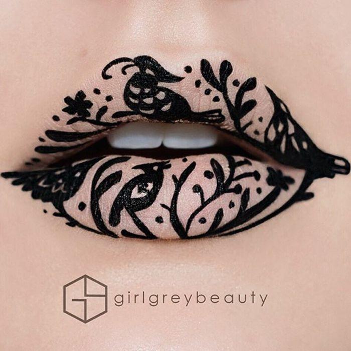 lippen schminken waldmotive schwarze ornamente andrea reed