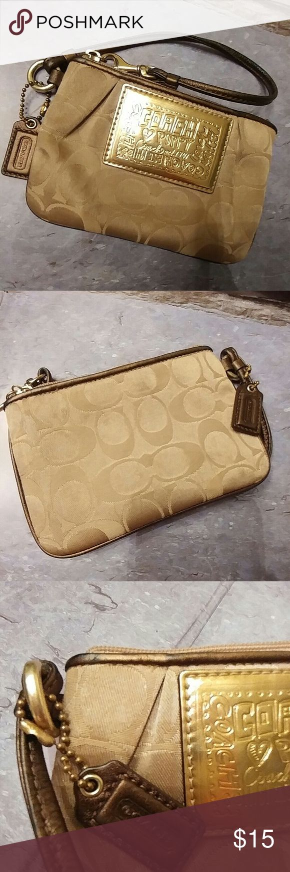 Coach Poppy Wristlet In very good, used condition. Inside is clean. Really beautiful colors! Coach Bags Clutches & Wristlets