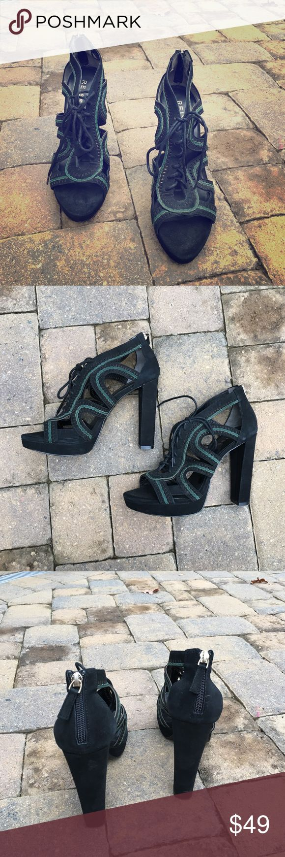 Reiss Platform Heels - Black Suede Reiss platform heels. Primarily black with some dark green details on top of shoe. Zipper closure at heel. Shoe string tie on top of shoe. In great condition - worn only one time. Reiss Shoes Heels