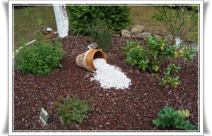 Jardin avec cailloux dans le massif recouvert de pierre for Plante exterieur maison