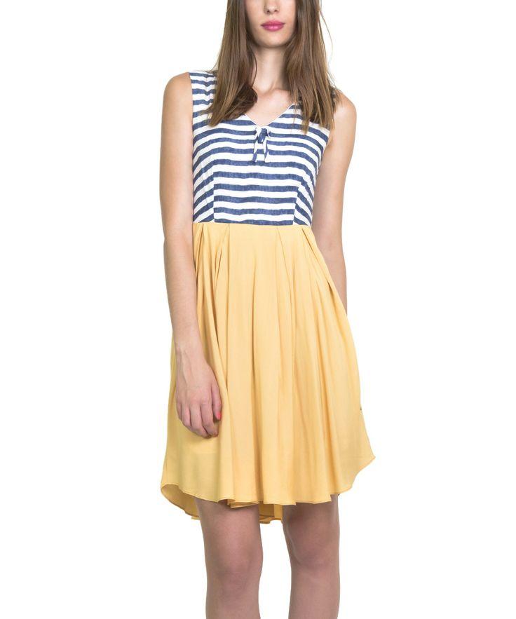 Blue & Yellow Malva Sleeveless Dress   zulily