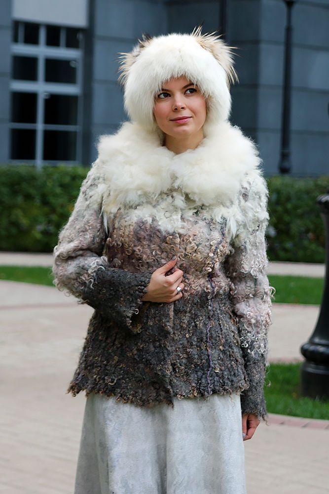 """Купить Валяная куртка """"Снег и пепел"""" - куртка женская, куртка меховая, куртка валяная"""
