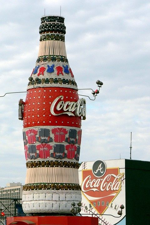 Giant Coca Cola bottle made of recycled baseball equipment at Turner Field, Atlanta, Georgia. -- Photo by Valerie Craft