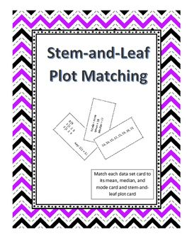 Stem-and-Leaf Plot Matching is an interactive and hands on way for students to practice stem-and-leaf plots. This activity has the student match each data set card to its mean, median, and mode card and stem-and-leaf plot card. To successfully complete the activity students need to find more than one measure of central tendency to guarantee that they have found the correct match. This activity can be used in a variety of ways .  Click on the cover page above to learn more!