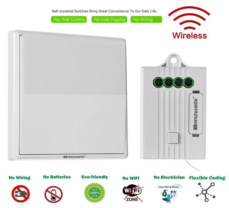 Breezesmile Wireless Light Switch Kit- No Wiring No Wi-Fi Battery-free Self-powered Switch with Receiver Remote Control House Lighting,Ceiling Lamp & Appliances Easy DIY(Switch,Receiver Included)