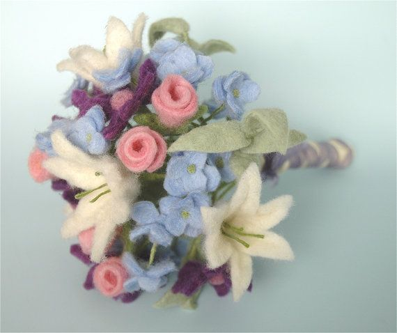 Felt flower wedding bouquet with purple, white, pink, and blue wool flowers. Ideal as spring wedding flowers or winter bridal bouquet