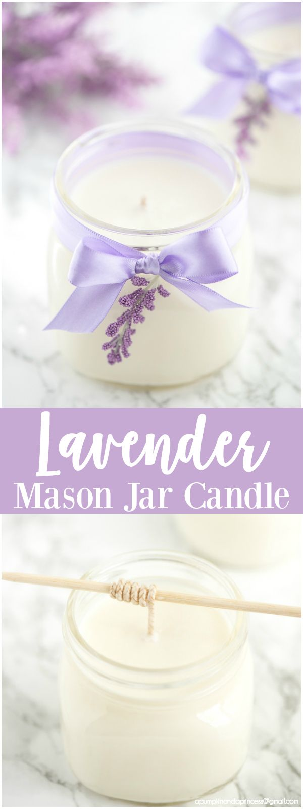 DIY Lavender Candle – how to make soy lavender candles in mason jars + printable gift tags to give as Mother's Day and birthday gifts.