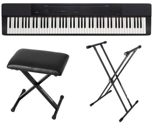 Casio PX150 Black 88 Key Weighted Digital Piano w/ Power Supply, Bench and Stand