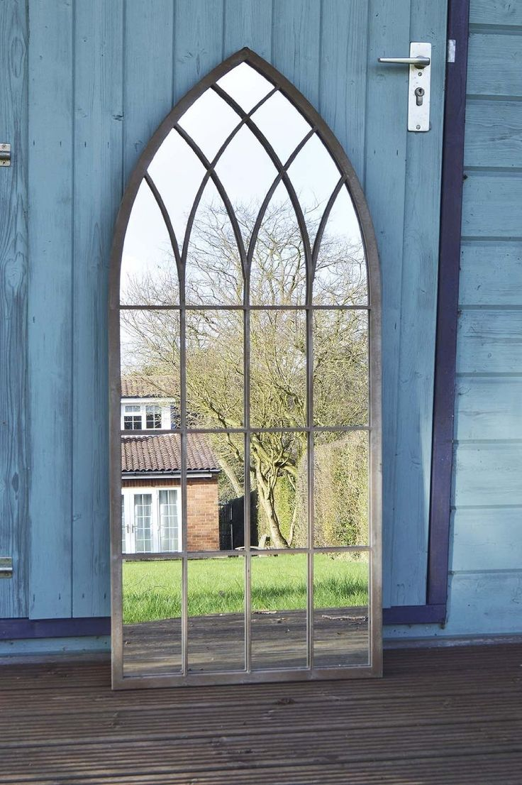 Large Outdoor Garden Mirror Rustic Gothic Design 3ft9 X 1ft 8 (115cm X 50cm)
