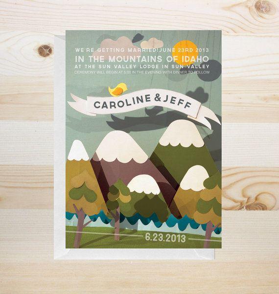 DIY printable mountain wedding invitation by yesdearstudio on Etsy, $69.00