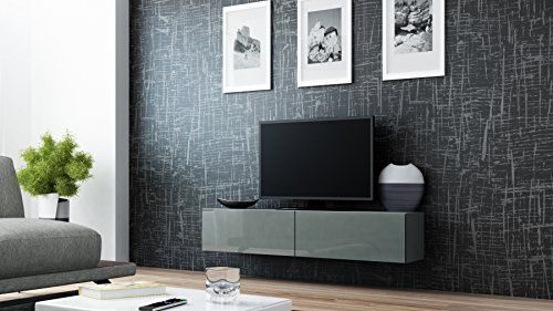 JUST RELEASED !!! BMF VIGO TV FLOATING WALL MOUNTABLE UNIT HIGH GLOSS FRONTS MOUNTED CABINET - 140CM WIDE - GREY