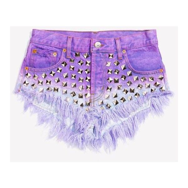 Wunderlust Dream Studded Babe Shorts ❤ liked on Polyvore featuring shorts, cutoff denim shorts, cutoff jean shorts, ripped shorts, distressed shorts and frayed jean shorts