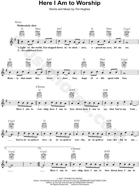 """Tim Hughes """"Here I Am to Worship"""" Sheet Music in G Major (transposable) - Download & Print"""