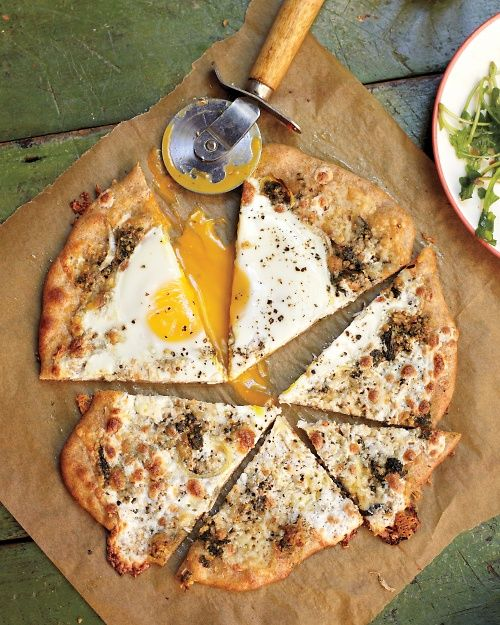 Pizza with a Sunny-Side-Up Egg and Herb Garden Pesto - Whole Living Eat WellEggs Pizza, Sunnysideup Eggs, Pesto Pizza, Breakfast Pizza, Gardens Pesto, Food, Sunny Side Up Eggs, Sunny'S Side Up Eggs, Herbs Gardens