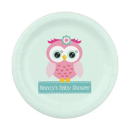 Pink Owl Shower Paper Plates  $1.60  by Baby_Sweet_Baby  - custom gift idea