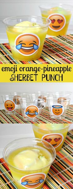 Emoji Orange Pineapple Sherbet Party Punch Recipe and Emoji Cup Printables