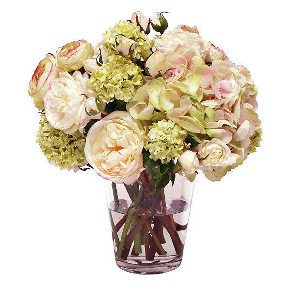 Hydrangea and Rose Liquid Illusion Bouquet in Vase (€525) ❤ liked on  Polyvore featuring home, home decor, floral decor, hydrangea fake flowers,  ...