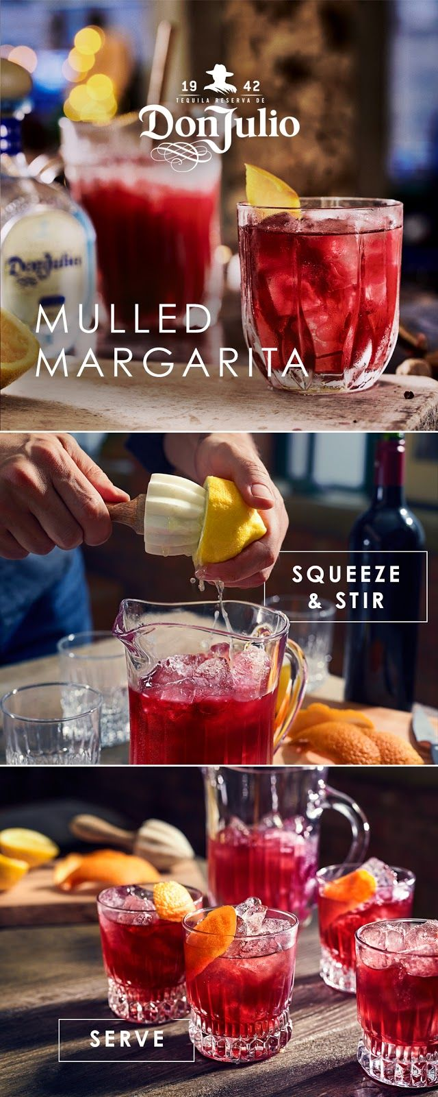 Crisp Blanco, sweet Merlot, and refreshing lemon juice – it's a match. Share the Don Julio Mulled Margarita with the ones you love this #ValentinesDay.    Start by filling a large jug with ice. Then add 7 oz Don Julio Blanco, 7 oz Merlot, 2.5 oz mulled spice syrup and 3.5 oz of freshly squeezed lemon juice, and stir. Serve in tumblers and garnish with orange peel, twisting the peel over the top of the drink to release the oils. Serves 8.