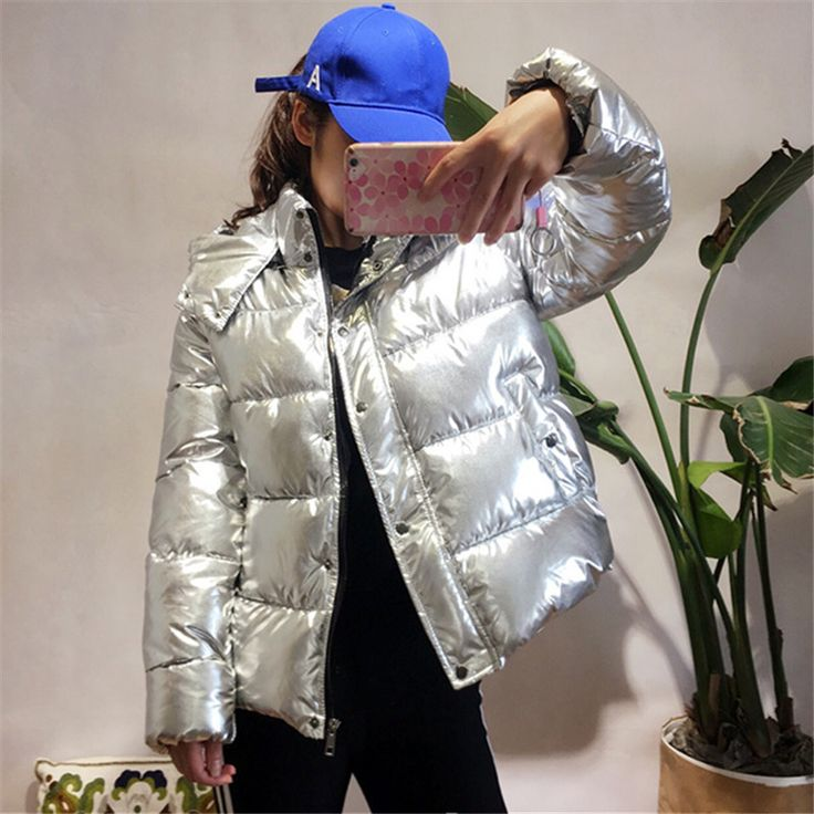 Women winter jackets Short warm coat Silver metal color bread style 2017 ladies parka winterjas dames abrigos mujer invierno. Yesterday's price: US $433.25 (351.58 EUR). Today's price: US $51.99 (42.78 EUR). Discount: 88%.