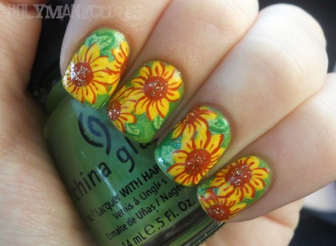 Sunflower nails by Holy Manicures