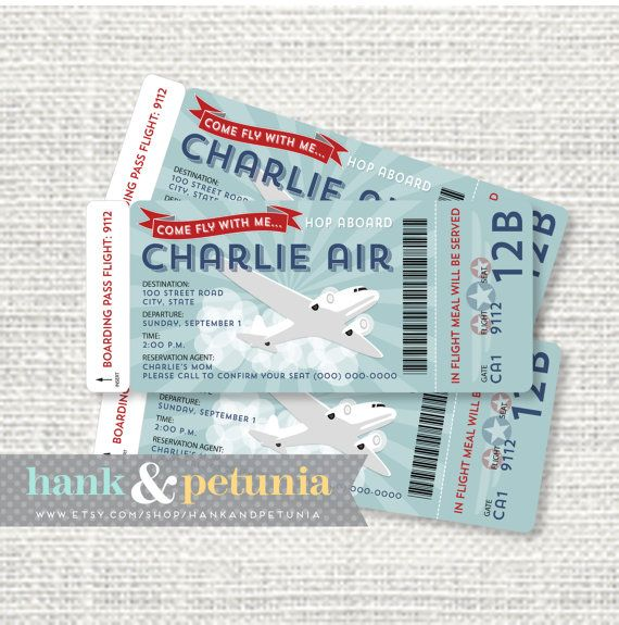 Printable Vintage Retro Airplane Birthday Invitation Boarding by HankandPetunia, $15.00