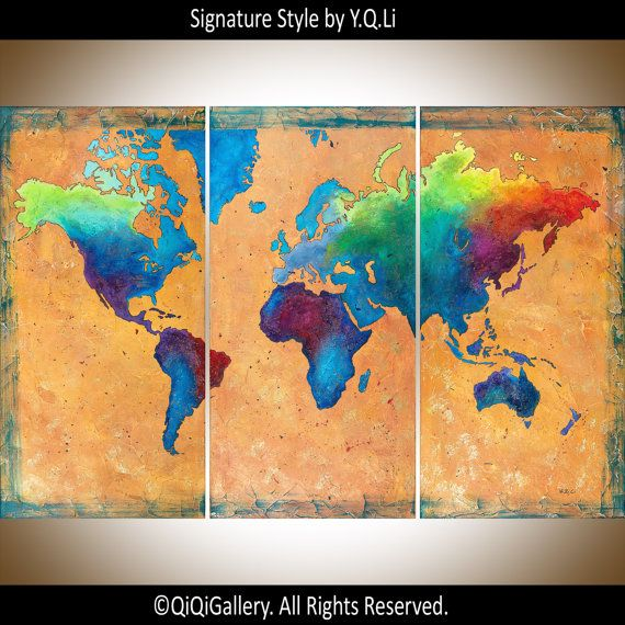 """HUGE Art ORIGINAL Abstract Landscape map Impasto Hand paint Mixed Medium heavy texture Canvas art (54"""" x 36"""" x 0.8"""") """"World Map"""" by QiQiGallery- Made To Order"""