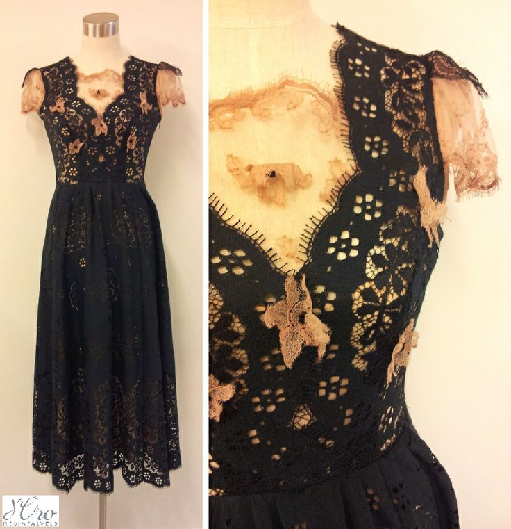 KV Couture, fashion designer Kristina Viirpalu #black #beige #dress #lace #details #flowers