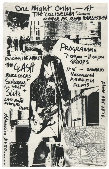 Flyer for The Clash, The Buzzcocks, Subway Sect and The Slits at The Coliseum, Harlesden March 11, 1977.