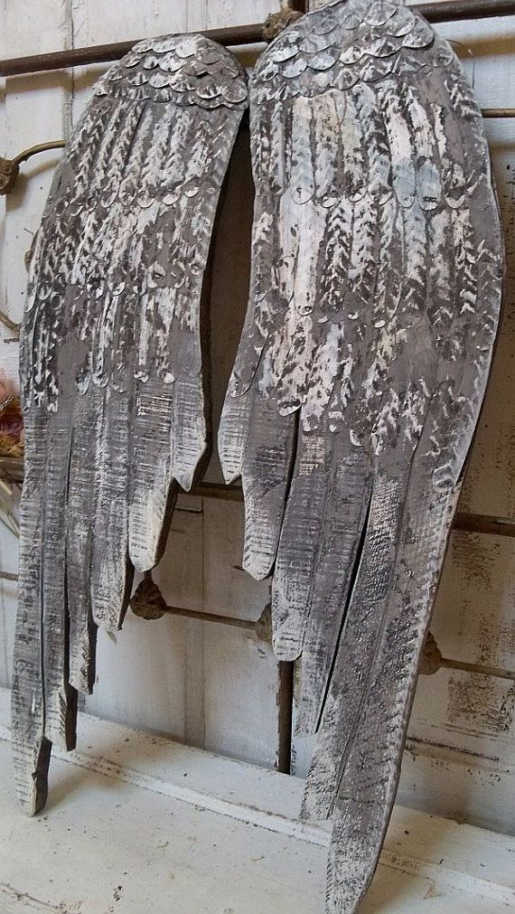 Large Gray Wings Wooden Wall Sculpture Distressed Hand