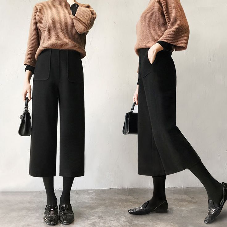 Womens Wool Wide Leg Casual Culottes Crop Pants Baggy Loose Trousers High Waist