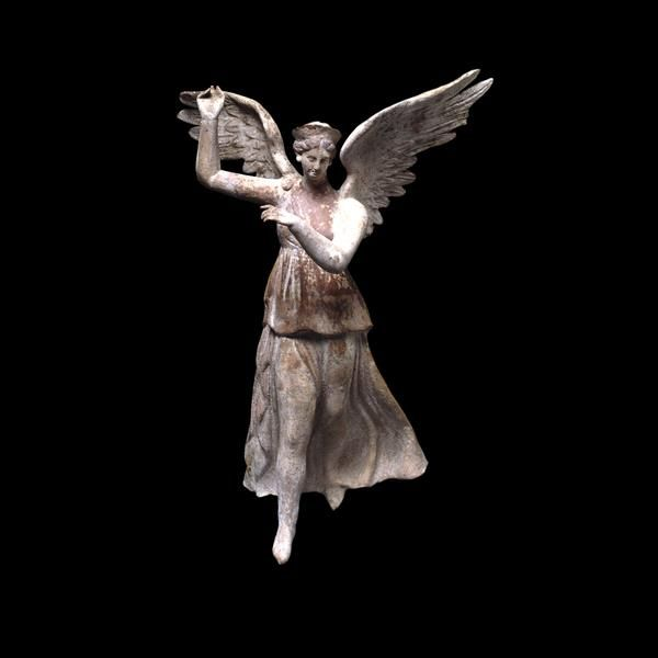 Terracotta figure of winged Victory (Nike) Greek, about 200-150 BCE. Probably made at Myrina, western Asia Minor (modern Turkey)