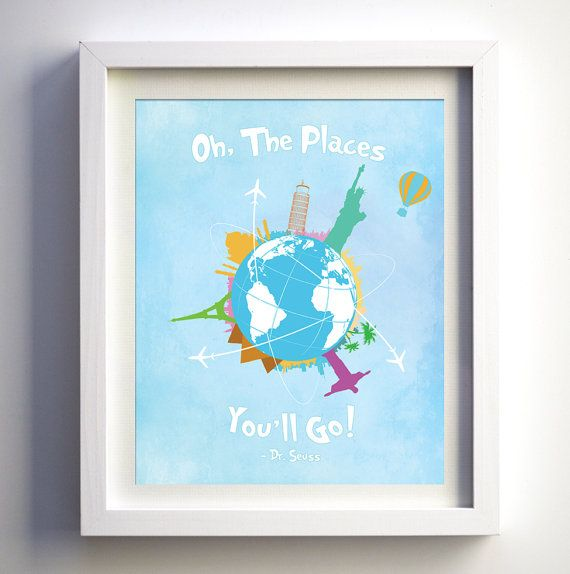 Dr. Seuss Quote Oh The Places You'll Go Baby by FancyPrintsforHome