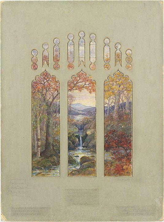 Design for Autumn Landscape window  Louis Comfort Tiffany, 1923.