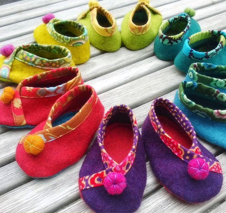 Felt slippers for babies, annascupoftea.blogspot.com