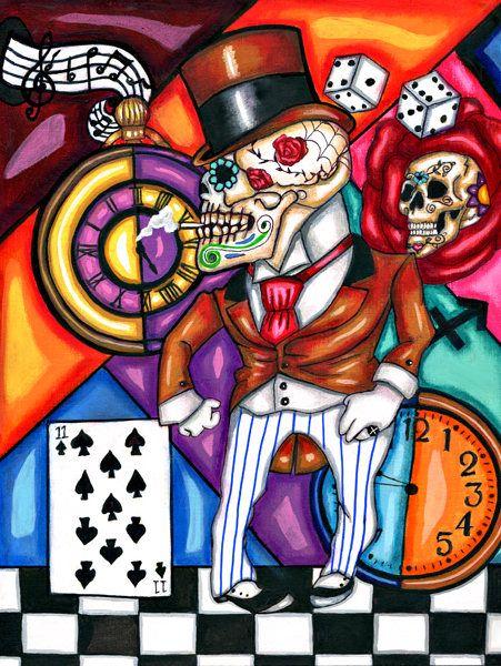 zoot suit Skeleton Man original art print skull Day Of The Dead dice clock top hat surreal artwork